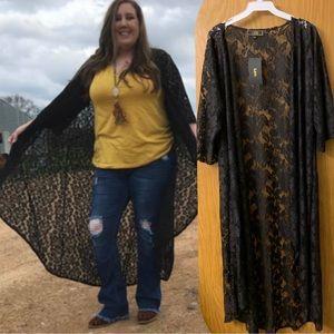 L&B Black Lace long Kimono duster S M L
